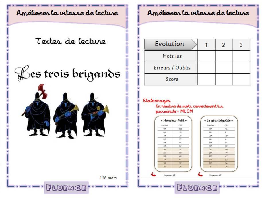 Aperçu texte d'entrainement à la fluence cp - ce1 - Les Trois brigands