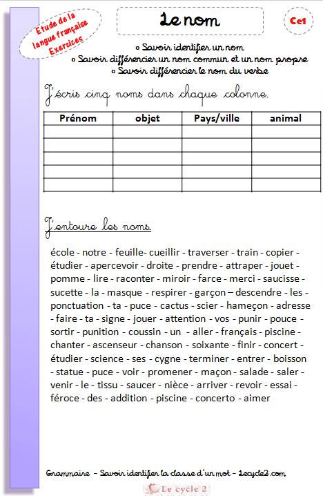 Exercice de grammaire ce1 a imprimer gz87 montrealeast - Grammaire ce1 a imprimer ...