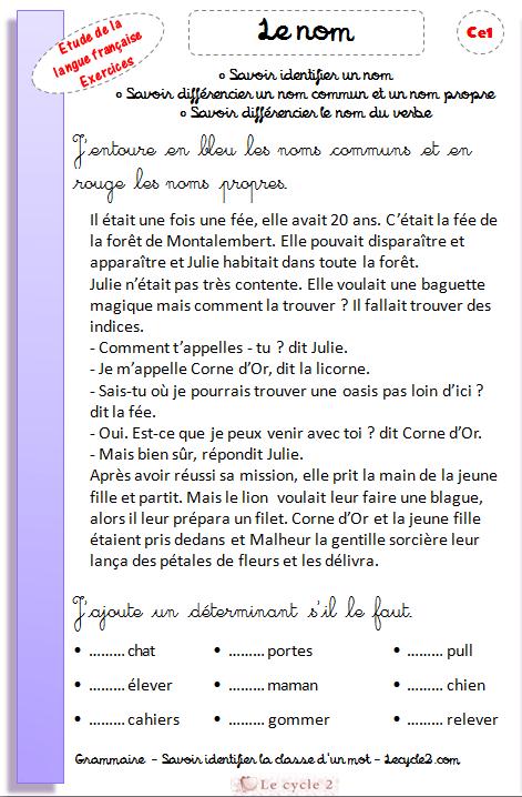 exercices-noms-communs-noms-propres-ce1-grammaire-revisions-evaluation-j-ajoute-un-determinant-au-nom-lecycle2-com