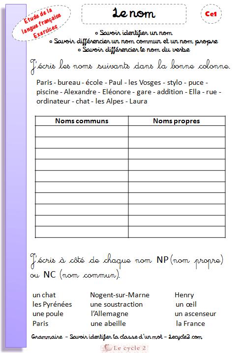 exercices-noms-communs-noms-propres-ce1-grammaire-revisions-evaluation-j-ecris-les-noms-dans-la-bonne-colonne-lecycle2-com