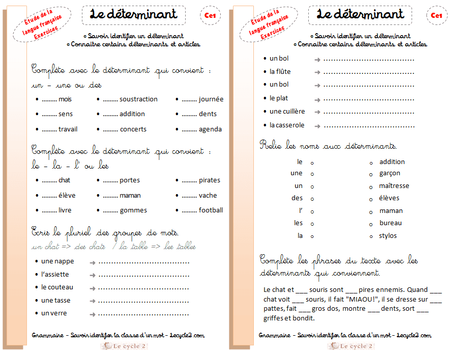 Connu Grammaire ce1 – Le déterminant | Trace écrite (leçon), exercices  LF62