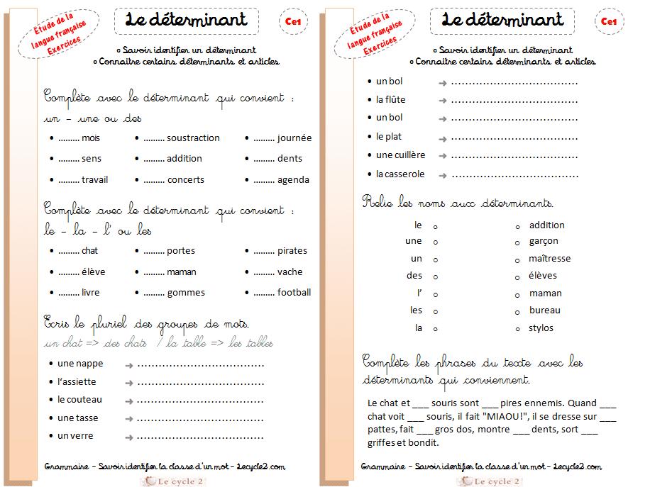fiche-exercices-determinant-ce1-ce2-grammaire-cycle2-savoir-identifier-un-determinant-connaitre ...