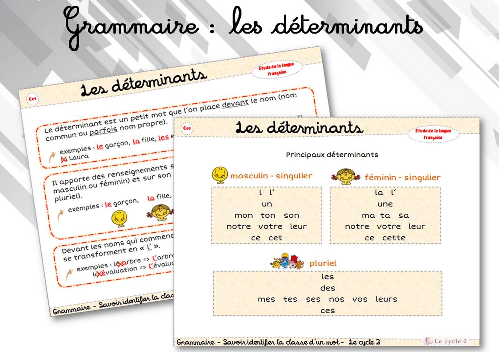 Le Determinant Liste Des Principaux Determinants Ce1 Ce2 Grammaire Trace Ecrite Lecon Cycle 2 Identifier La Classe D Un Mot Le Cycle 2 Apres L Ecole