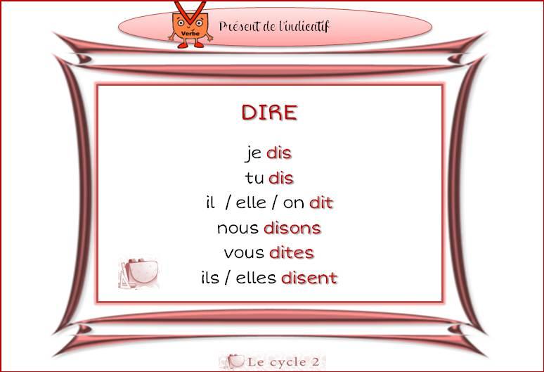 fiches-conjugaison-ce1-present-de-l-indicatif-dire