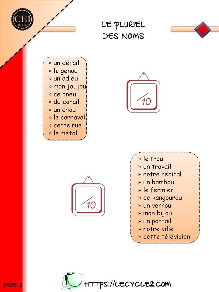 Pluriel Des Noms Ce1 Exercices A Imprimer Le Cycle 2 Apres L